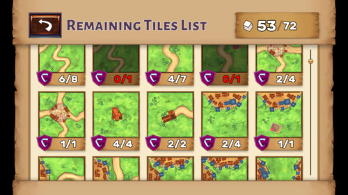Remaining tiles list screenshot of Carcassonne Tiles and Tactics video game interface.