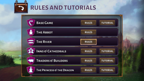Rules and tutorials screenshot of Carcassonne Tiles and Tactics video game interface.