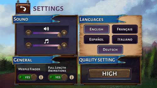 Settings screenshot of Carcassonne Tiles and Tactics video game interface.