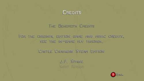 Credits screenshot of Castle Crashers video game interface.