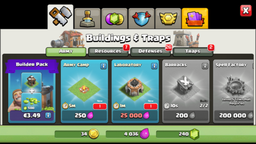 Army screenshot of Clash of Clans video game interface.