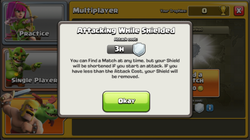 Attacking while shielded screenshot of Clash of Clans video game interface.