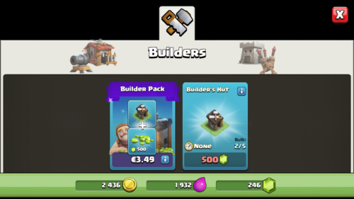 Builders screenshot of Clash of Clans video game interface.