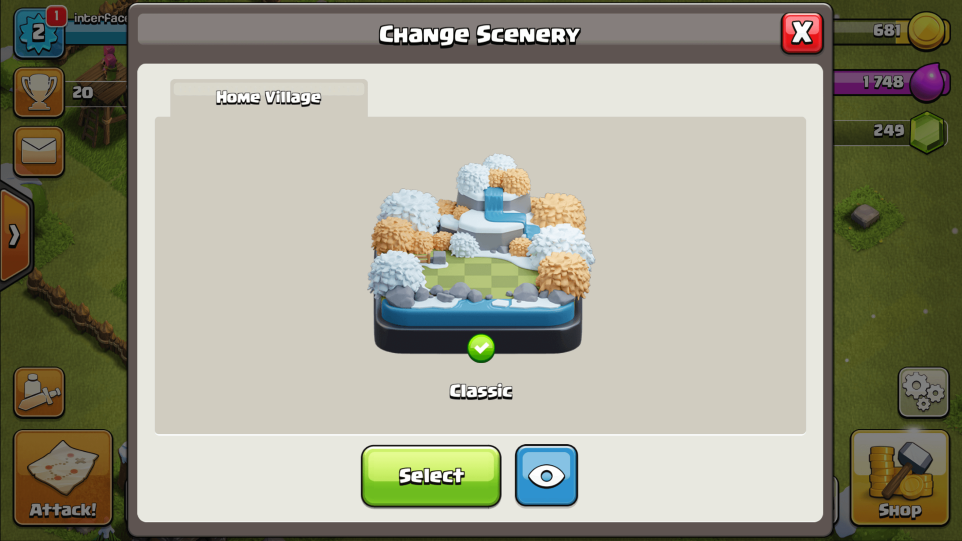 Change scenary screenshot of Clash of Clans video game interface.