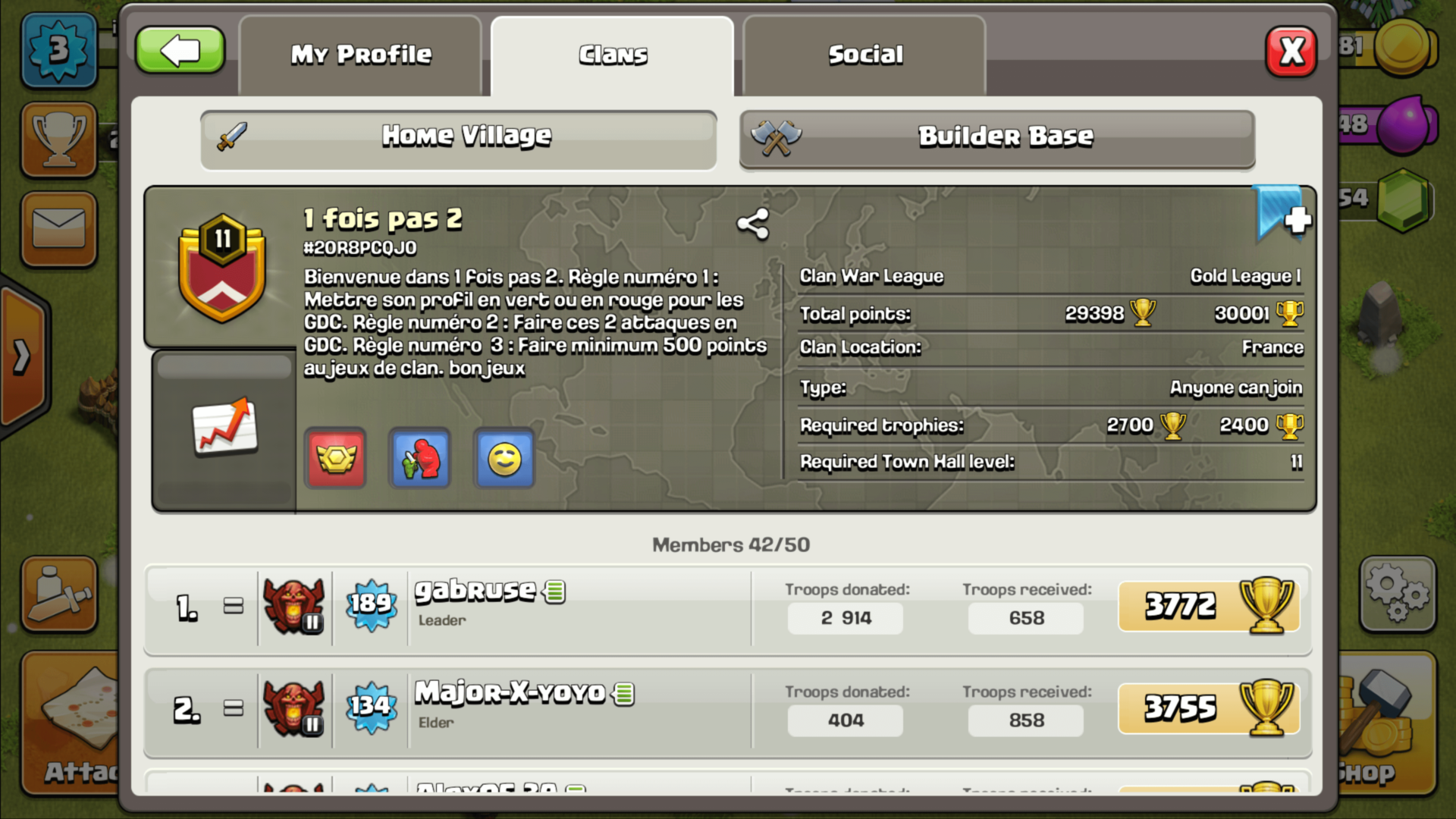 Clan village screenshot of Clash of Clans video game interface.