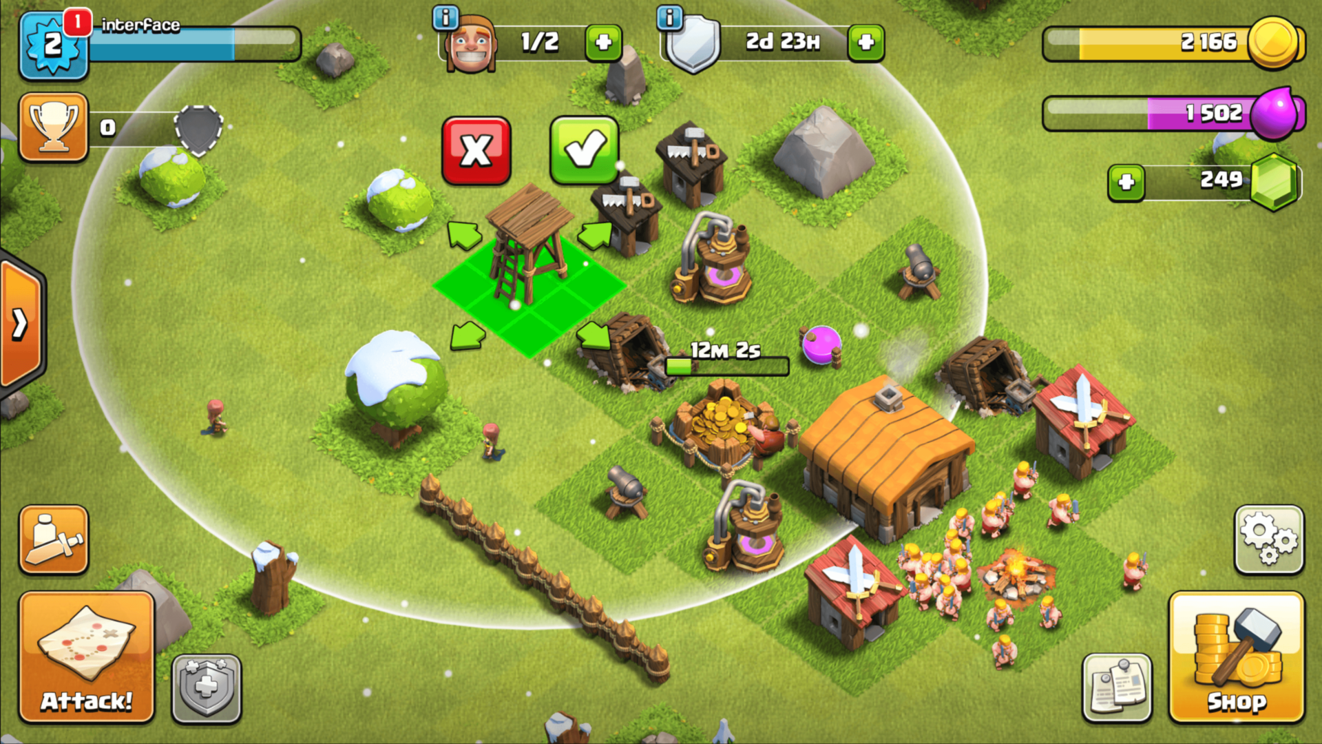 Construct screenshot of Clash of Clans video game interface.