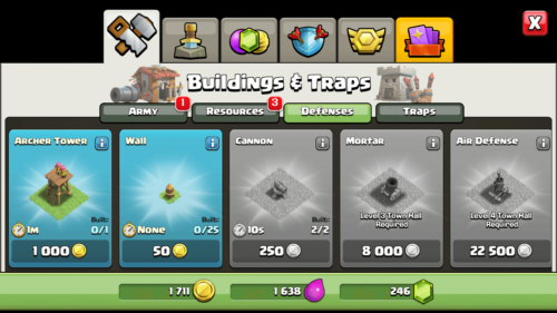 Defenses screenshot of Clash of Clans video game interface.