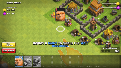Deploy a Giant screenshot of Clash of Clans video game interface.