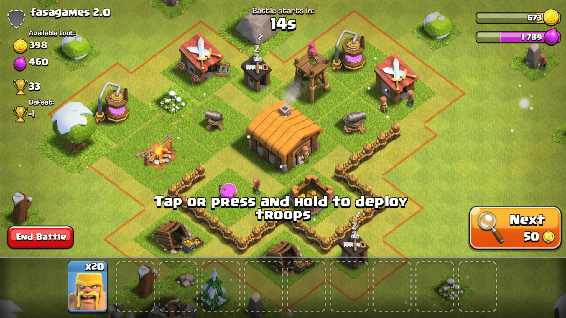 Deploy troops screenshot of Clash of Clans video game interface.
