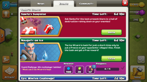 Events screenshot of Clash of Clans video game interface.