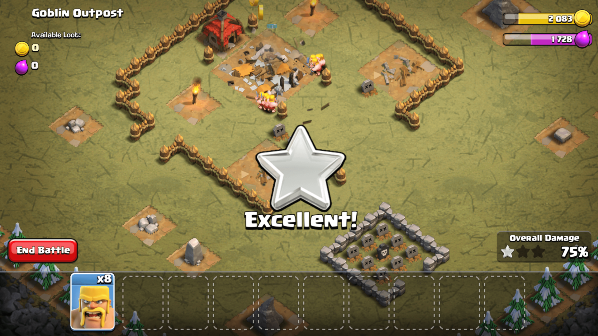 Excellent screenshot of Clash of Clans video game interface.