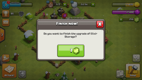 Finish now screenshot of Clash of Clans video game interface.