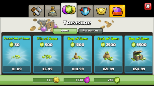 Gems screenshot of Clash of Clans video game interface.
