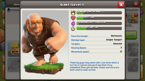 Giant screenshot of Clash of Clans video game interface.