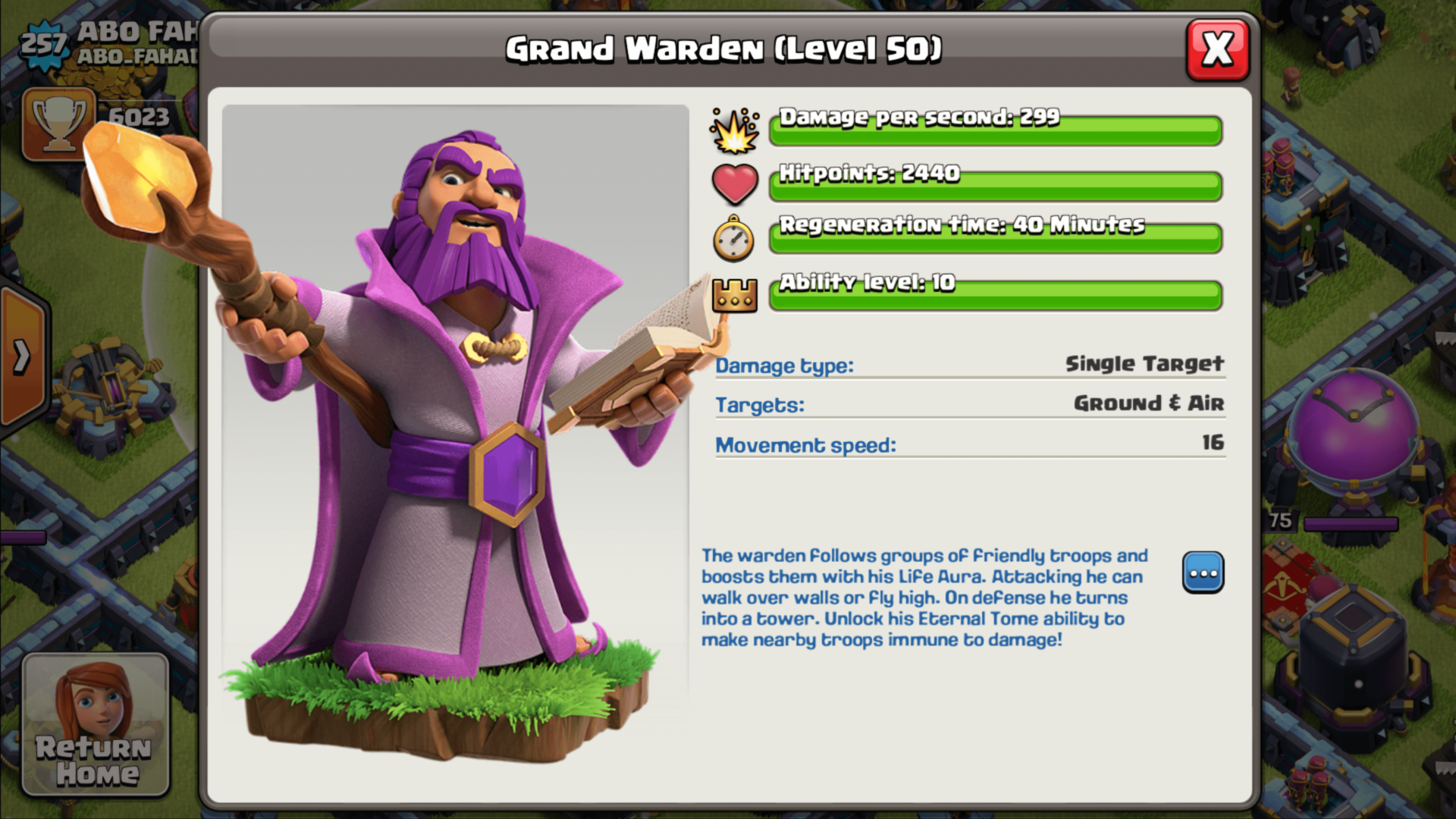 Grand warden screenshot of Clash of Clans video game interface.