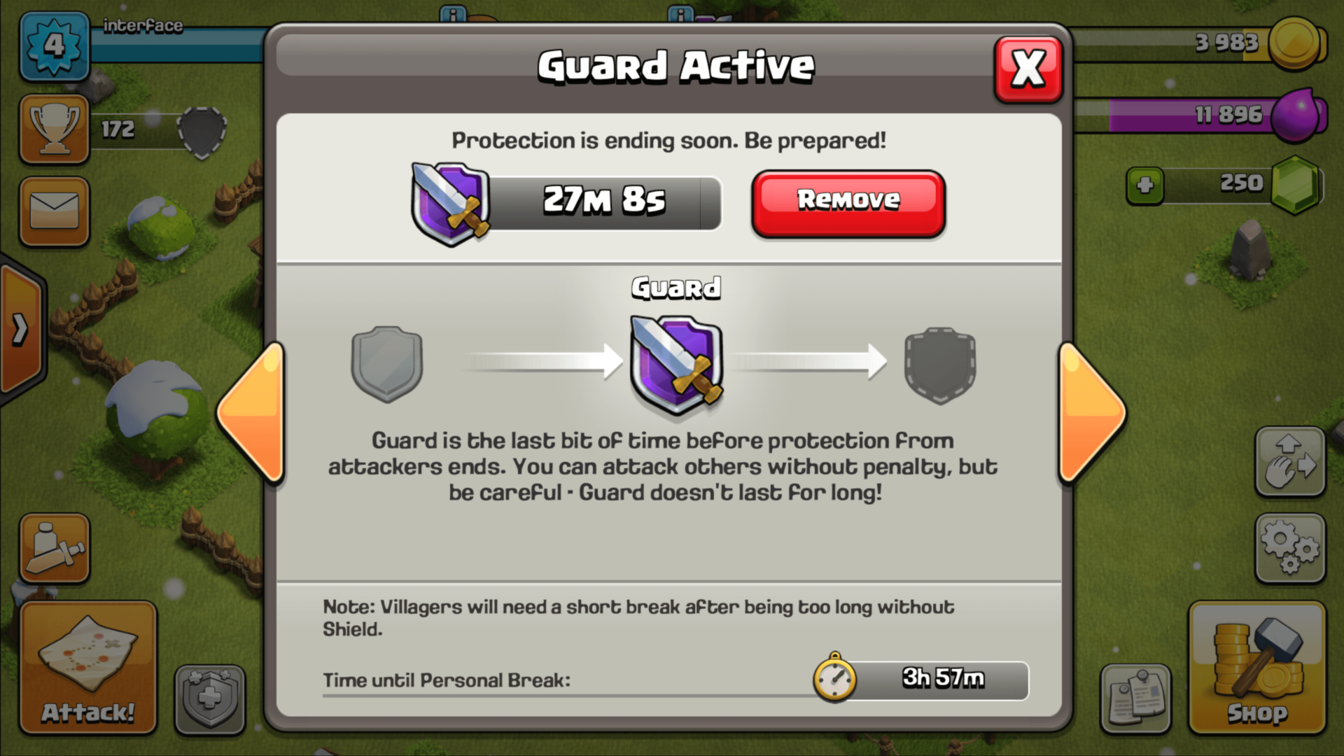 Guard Active screenshot of Clash of Clans video game interface.