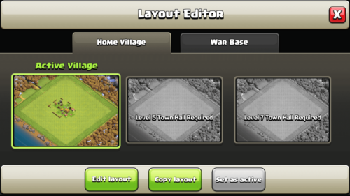 Layout Editor screenshot of Clash of Clans video game interface.