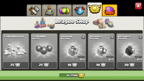 League shop screenshot of Clash of Clans video game interface.