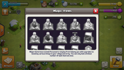 Magic items screenshot of Clash of Clans video game interface.