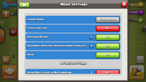 More settings screenshot of Clash of Clans video game interface.