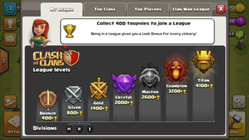 My league screenshot of Clash of Clans video game interface.