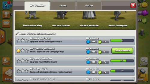 My profile screenshot of Clash of Clans video game interface.