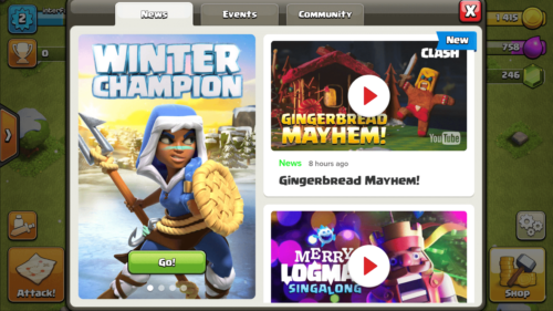 News screenshot of Clash of Clans video game interface.