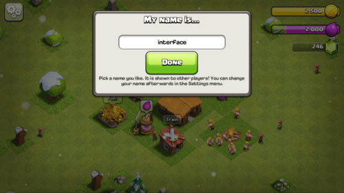 Pick a name screenshot of Clash of Clans video game interface.