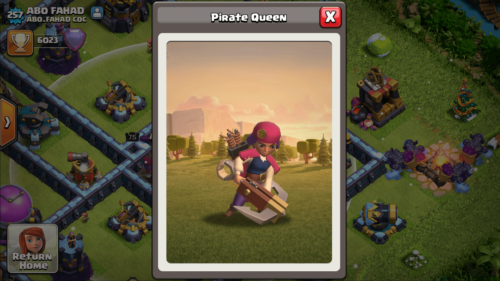 Pirates Queen screenshot of Clash of Clans video game interface.