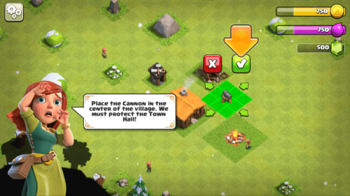Place the cannon screenshot of Clash of Clans video game interface.