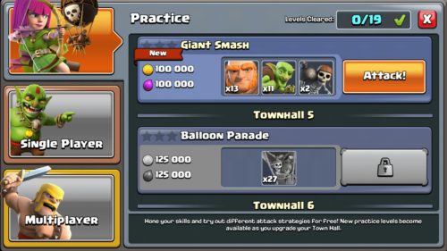 Practice screenshot of Clash of Clans video game interface.