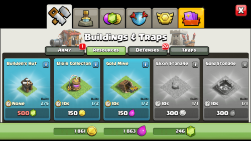 Resources screenshot of Clash of Clans video game interface.
