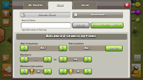 Search clans screenshot of Clash of Clans video game interface.