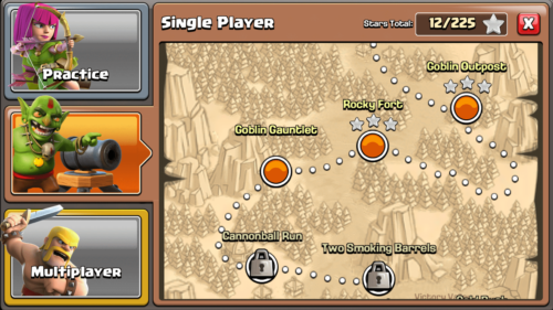 Single player screenshot of Clash of Clans video game interface.