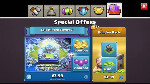 Special offers screenshot of Clash of Clans video game interface.