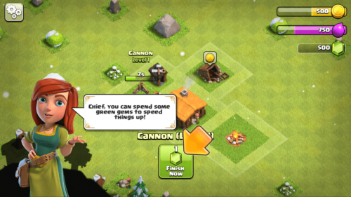 Speed construction screenshot of Clash of Clans video game interface.