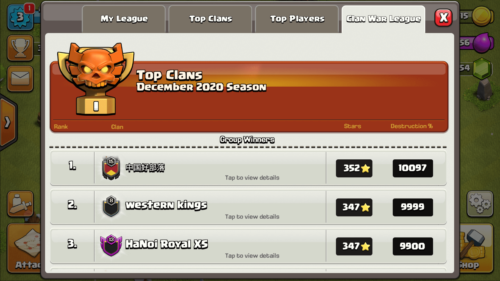 Top clans screenshot of Clash of Clans video game interface.