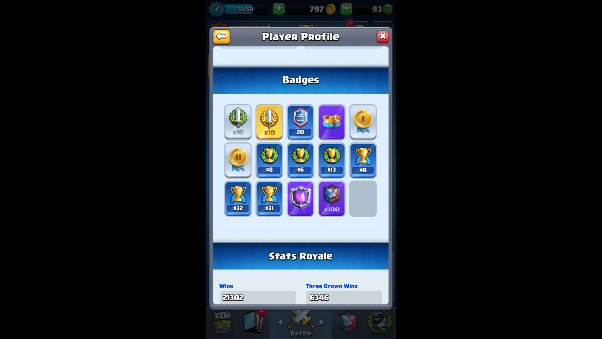 Badges screenshot of Clash Royale video game interface.