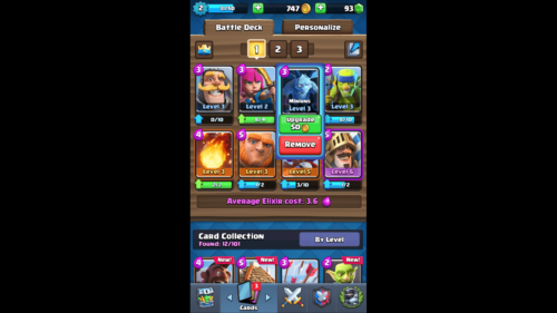 Battle Deck screenshot of Clash Royale video game interface.