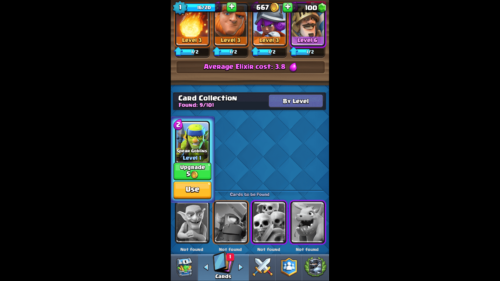 Card collection screenshot of Clash Royale video game interface.