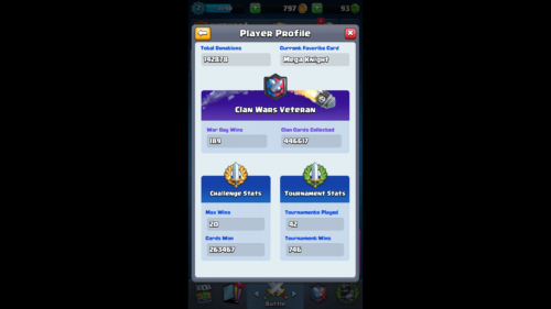 Challenge Stats screenshot of Clash Royale video game interface.