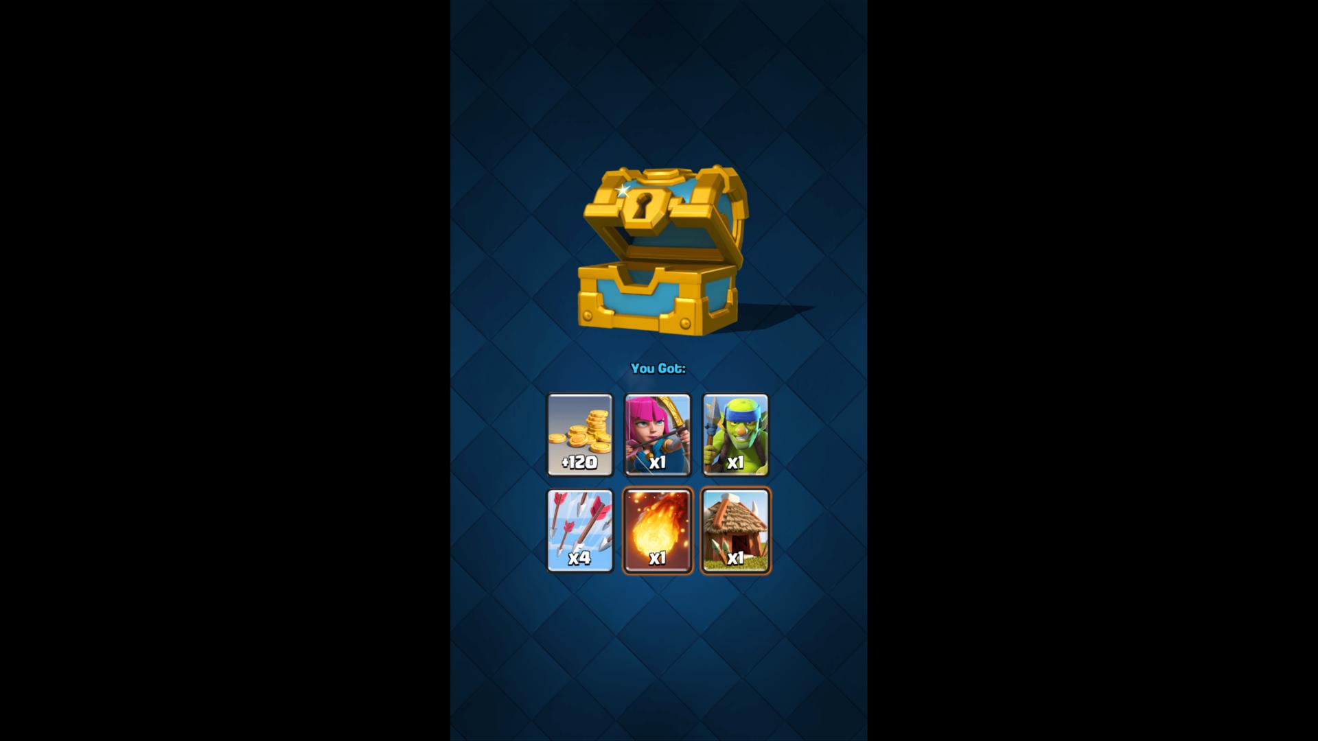 Chest reward screenshot of Clash Royale video game interface.