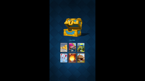 Chest reward screenshot of Clash Royale video game interface.