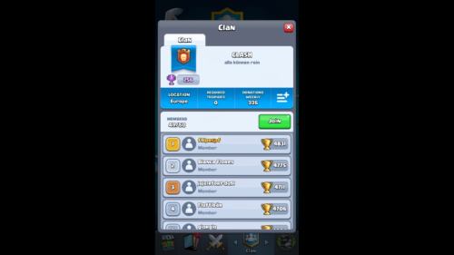 Clan screenshot of Clash Royale video game interface.