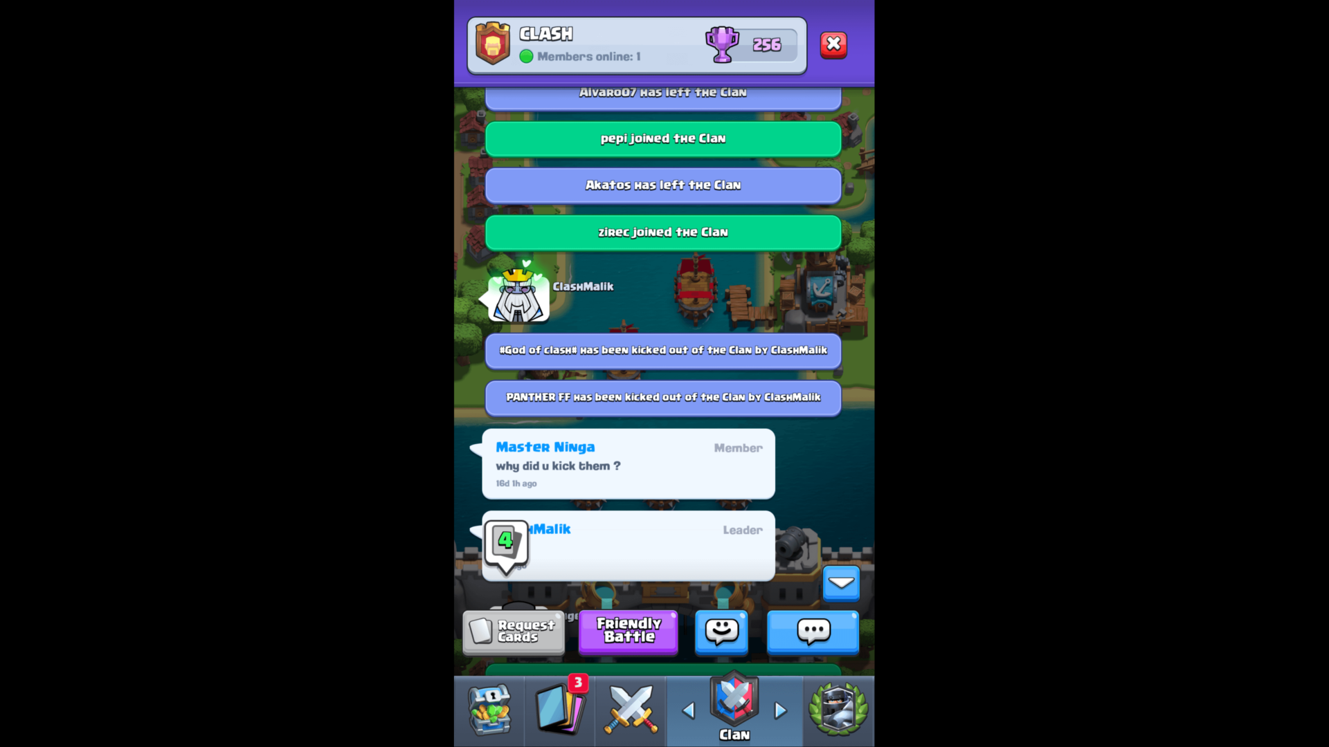 Clan dialogue screenshot of Clash Royale video game interface.