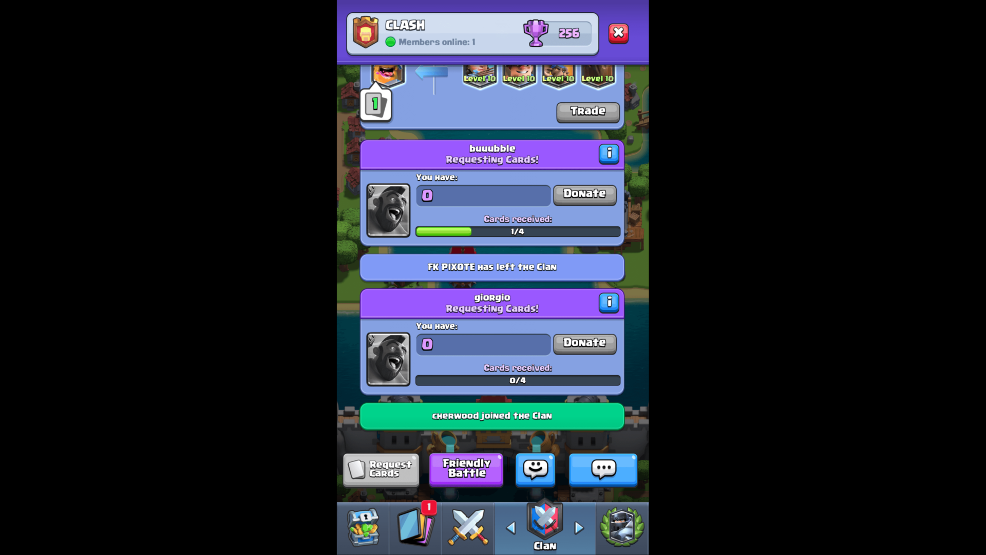 Clan summary screenshot of Clash Royale video game interface.