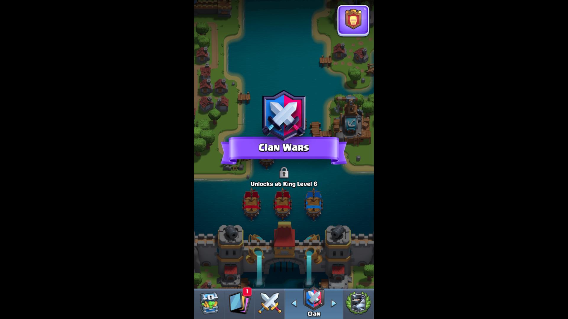 Clan wars screenshot of Clash Royale video game interface.