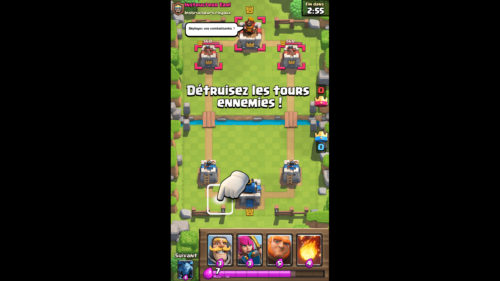 Destroy tower screenshot of Clash Royale video game interface.