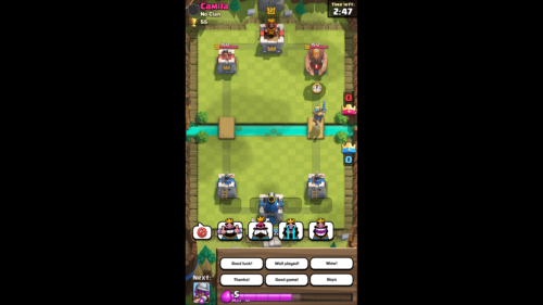 Dialogue screenshot of Clash Royale video game interface.