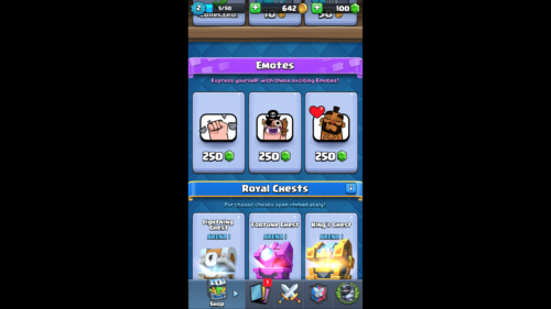 Emotes screenshot of Clash Royale video game interface.